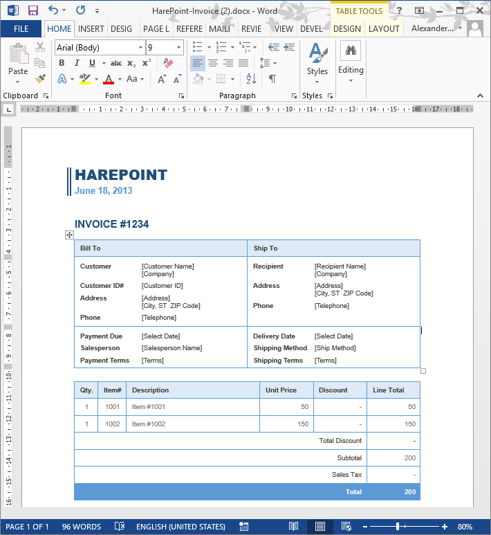 Freelance Invoice Example Sharepoint Workflow Creates Invoices With Variable Number Of Items Invoice Jobs Pdf with Receipt Copier Save Publish And Test The Workflow To Update The Table In The Invoice In  The Word Document  Order Receipt Sample Pdf
