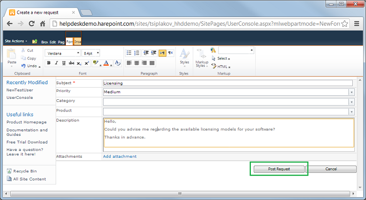 Create Several Requests After Request Creation Go Back To The Main Page And Use Technician Console Link