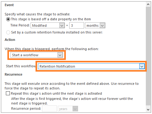 Run retention notification workflow