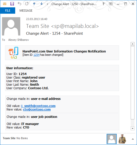 HarePoint Custom Alerts for SharePoint screenshot: sharepoint email alert, customize sharepoint alert, sharepoint email notification,sharepoint alert template, sharepoint alert management, sharepoint alerts manager, sharepoint custom alerts, alerts customization, email alerts