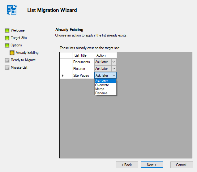 Define required action for migrated lists