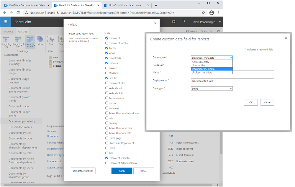 SharePoint reporting for documents and list items metadata