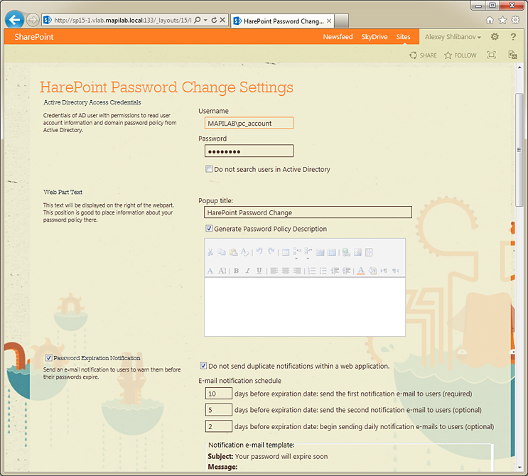 HarePoint Password Change for SharePoint screenshots
