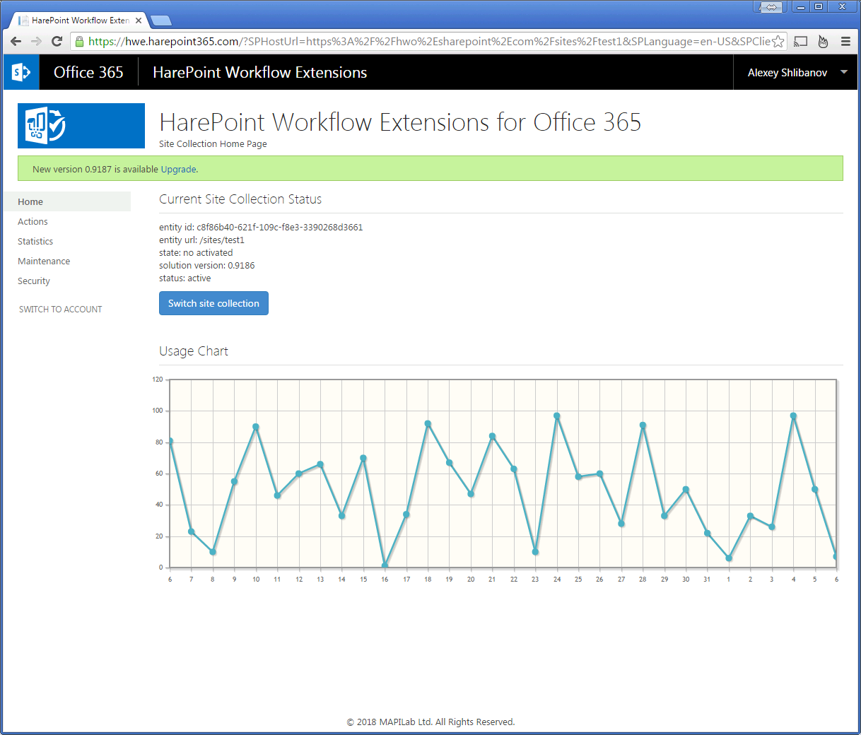 Harepoint workflow extensions for office 365 screenshots current site collection status usage chart baditri Choice Image