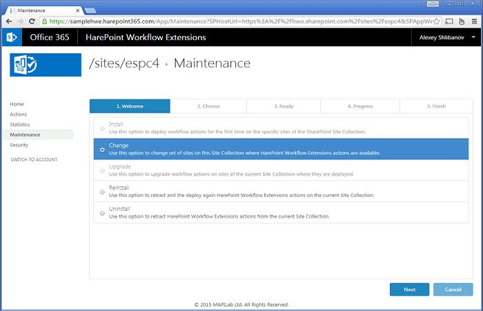 Maintenance area in Workflow Extensions for Office 365