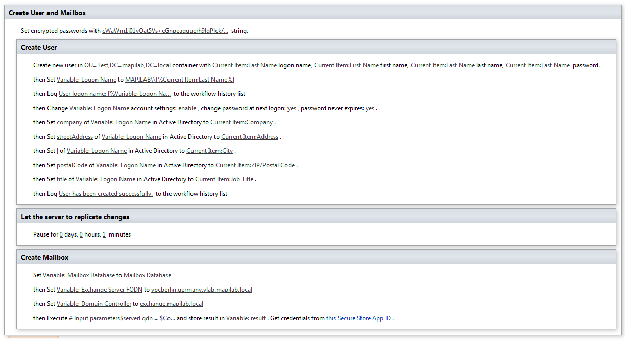 Powershell in SharePoint workflow to create mailboxes on