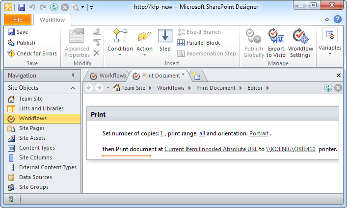 Printing Features In Sharepoint Workflows