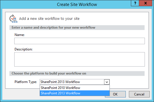 Selecttion of the SharePoint Workflow Platform in SharePoint Designer 2013