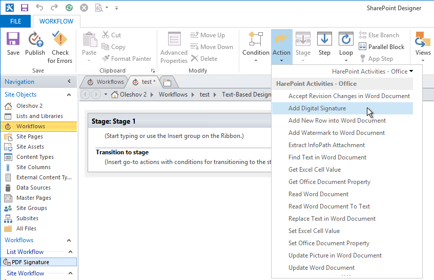 Custom workflow actions in SharePoint Designer